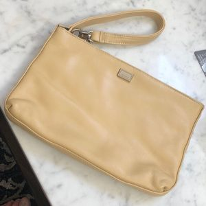 Perlina yellow leather wrist or clutch excellent